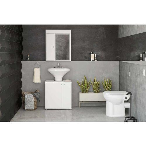 Balcão de Banheiro com 2 Portas Branco Politorno