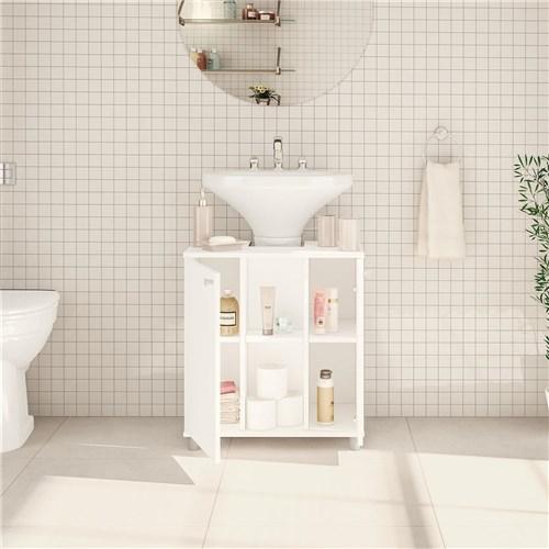 Balcão para Banheiro Politorno 2 Portas 3 Prateleiras Branco
