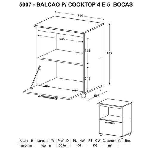 Balcão-Para Cooktop 4 ou 5 Bocas-5007-Branco/Preto Brilho-Multimóveis