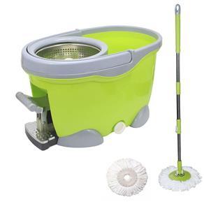 Balde Spin Mop 360 Inox com Pedal Aluminio Completo Sp301-g Verde
