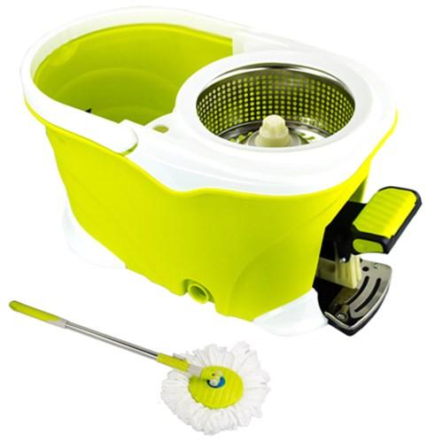 Balde Spin Mop 360 Inox com Pedal Alumínio Completo - Verde