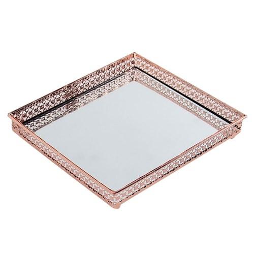 Bandeja Cobre Espelhada - 16X16 Cm