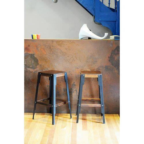 Tudo sobre 'Banqueta Industrial Alta Bar Cozinha Madeira 71 X 40cm'