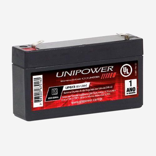 Bateria Estacionária Vrla 6v 1,3ah Up613 Unipower