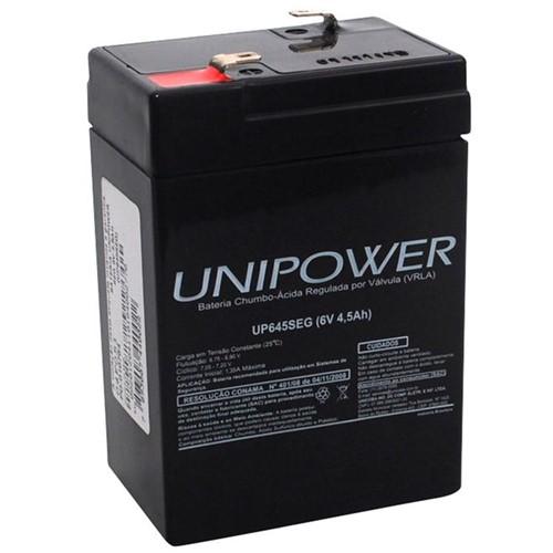Bateria Selada VRLA, 6V, 4.5 Ah F187 UP645 – Linha SEG – Unipower