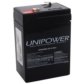 Bateria Selada VRLA 6V 4.5 Ah F187 UP645 ? Linha SEG ? Unipower