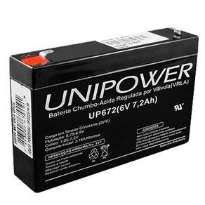 Bateria Selada Vrla, 6V, 7.2 Ah F187 Up672 - Unipower