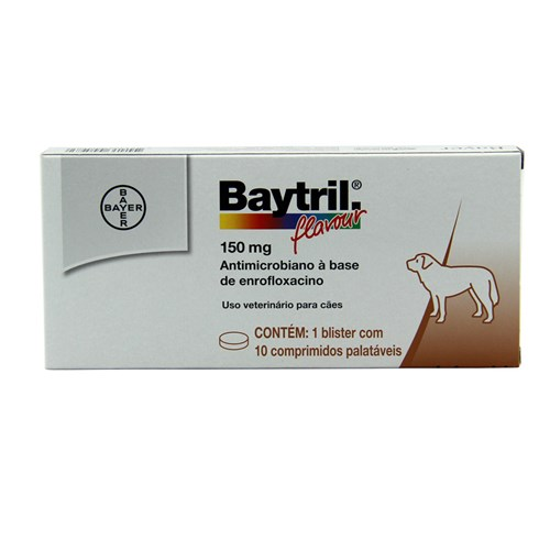 Baytril Flavour 150mg 10 Comp Bayer Antibiótico Cães