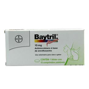 Baytril Flavour 15mg 10 Comp - Bayer (Antibiótico Cães e Gatos)