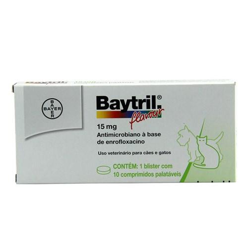 Baytril Flavour 15mg 10 Comprimidos Bayer Antibiótico Cães e Gatos