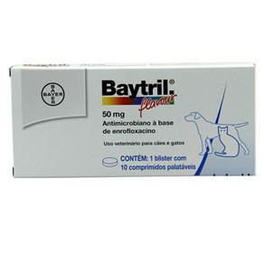 Baytril Flavour 50mg 10 Comp - Bayer (Antibiótico Cães e Gatos)