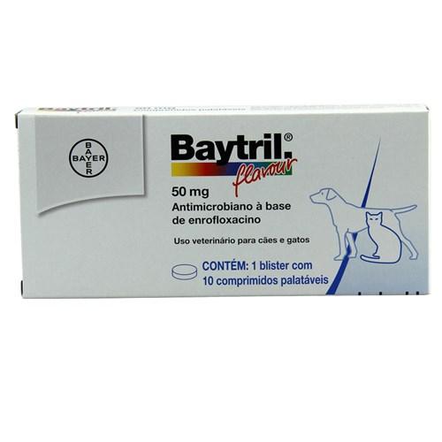 Baytril Flavour 50mg 10 Comprimidos Bayer Antibiótico Cães e Gatos