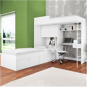 Beliche com Cama Alta e Cama Tókio Branco - Art In Móveis - Branco