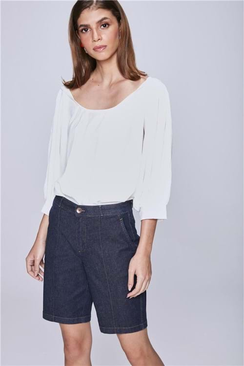Bermuda Jeans Cintura Alta Solta