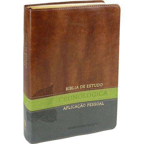 Bíblia de Estudo Cronológica Aplicação Pessoal - Capa Luxo Marrom e Verde