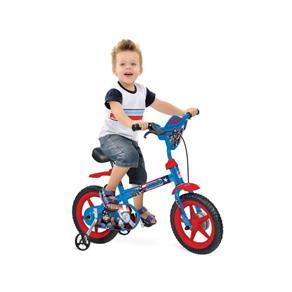 """Bicicleta 12"""" Capitão América Bandeirante - 2247 - Azul"""