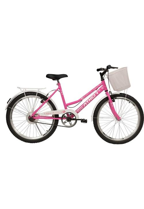 Bicicleta Aro 24 Nature Rosa com Cestão Athor Bikes