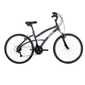 Bicicleta Aro 26 Caloi 400 Feminina com 21 Marchas e Suspensão Dianteira - Cinza