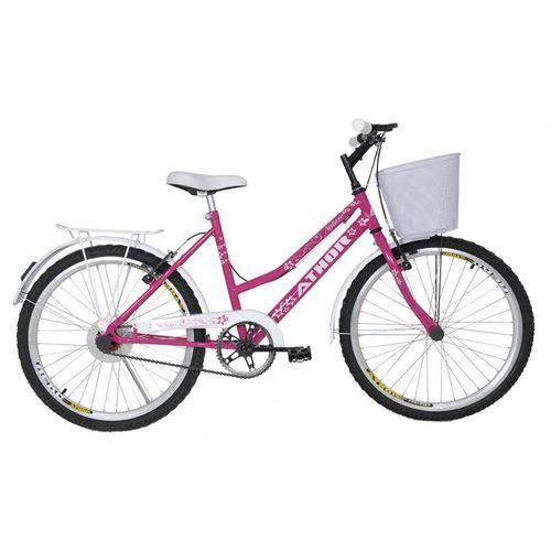 Bicicleta Athor Aro 24 Nature Freio V- Brake C/ Cestão-rosa