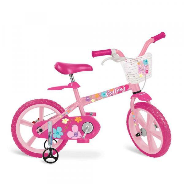 Bicicleta Bandeirante 3012 Aro 14 Gatinha Rosa