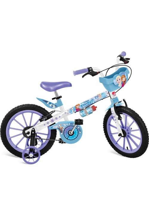 """Bicicleta Bandeirante 16"""""""" Frozen Disney Cestinha Branco e Azul"""
