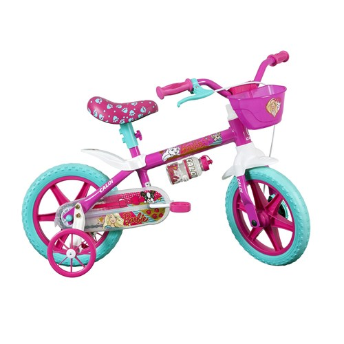 Bicicleta Infantil Aro 12 Caloi Barbie Rosa