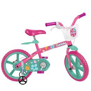 Bicicleta Infantil Aro 14 Gatinha Rosa e Verde Bandeirante