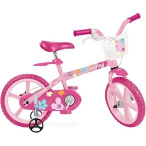 "Bicicleta Infantil Bandeirante Aro 14"" - Gatinha Rosa"