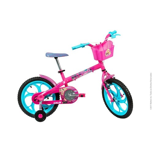 "Bicicleta Infantil Barbie Aro 16"" Rosa Caloi"