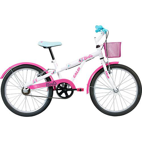 "Bicicleta Infantil Caloi Barbie Aro 20"" - Branca/Rosa"