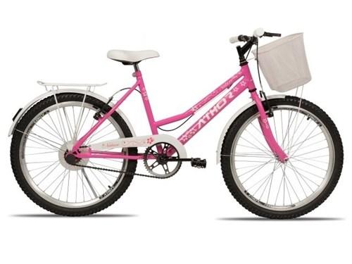 Bicicleta Nature Freio V- Brake Aro 24 com Cestão 3055 Athor (Rosa)