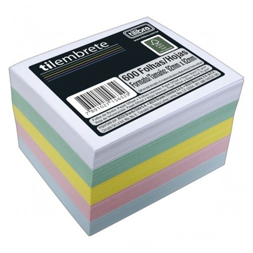 Bloco Tilembrete 92x82mm 600 Folhas 5 Cores 156329