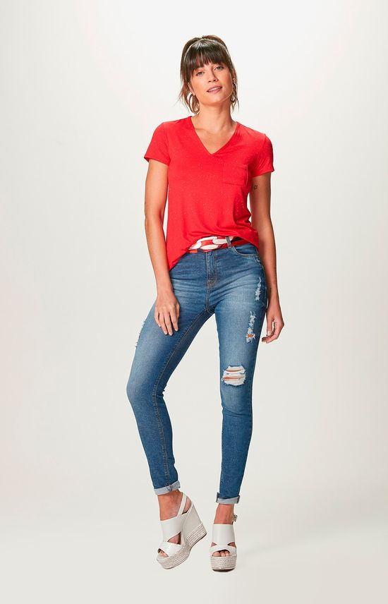 Blusa Botonê com Bolso Malwee Vermelho - P