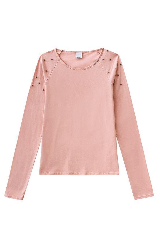 Blusa com Apliques Malwee Rosa Claro - G