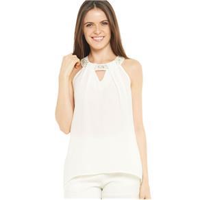 Blusa com Decote Bordado - G - Branco