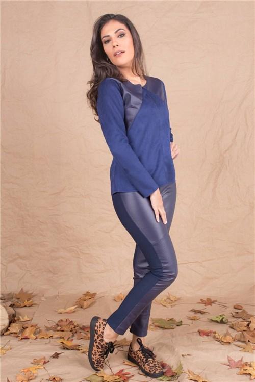 Blusa de Suede Azul Marinho Fit