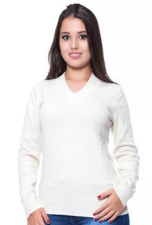 Blusa Decote V Basica Branca