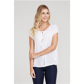Blusa Decote V com Bordado - G - Branco