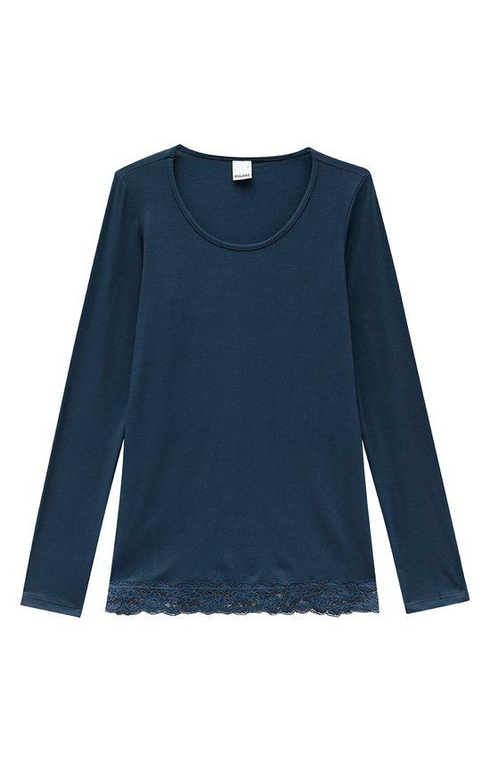 Blusa Detalhe Renda Malwee Azul Escuro - G