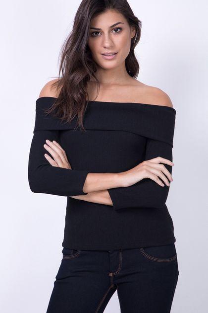 Blusa Lança Perfume Ombro a Ombro Canelado- Preto