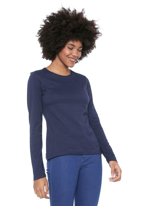 Blusa Malwee Básica Azul-marinho