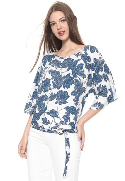 Blusa Malwee Estampada Branca/Azul