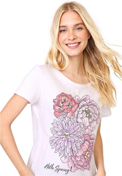 Blusa Malwee Floral Branca