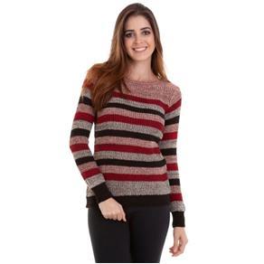Blusa Tricot Listrado - Vermelho e Preto