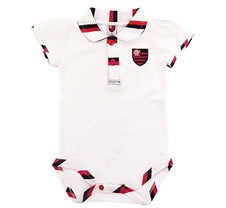 Body Bebê Manga Curta Polo Menina Flamengo Doremibebê