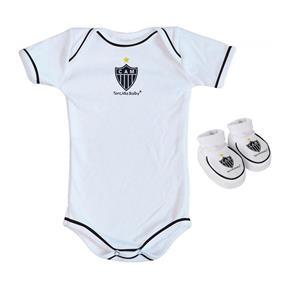 Body e Pantufa Atlético MG Branco - Torcida Baby - M - Branco