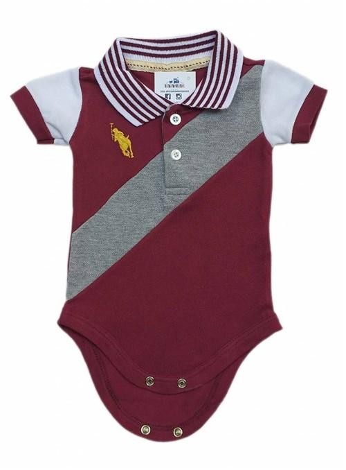 Body Polo Bebê em Piquet Manga Curta Vinho