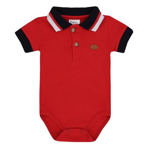 Body Polo de Bebê Masculino Manga Curta Vermelho
