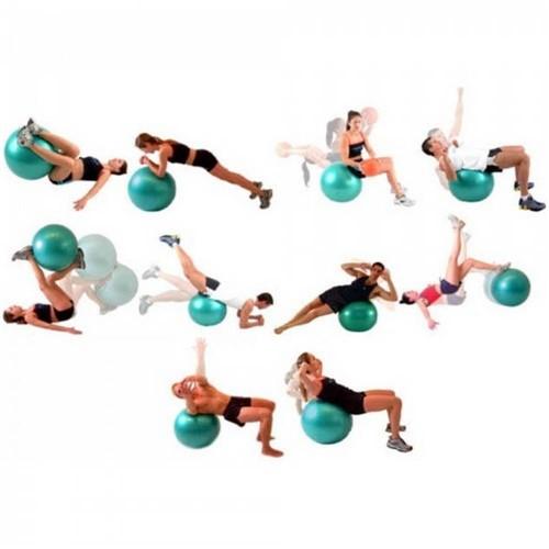 Tudo sobre 'Bola Suíça 65 Cm com Ilustração para Pilates e Yoga Cor Azul Bomba de Dupla Ação de Mão'