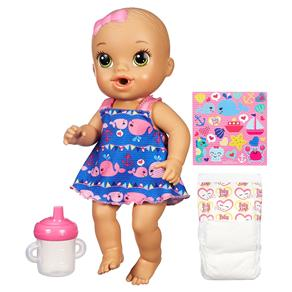Boneca Baby Alive Hasbro Hora do Xixi Morena - Roupinha Azul
